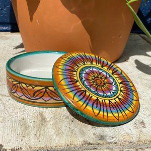 Vintage Italian Hand-Painted Rainbow Trinket Dish